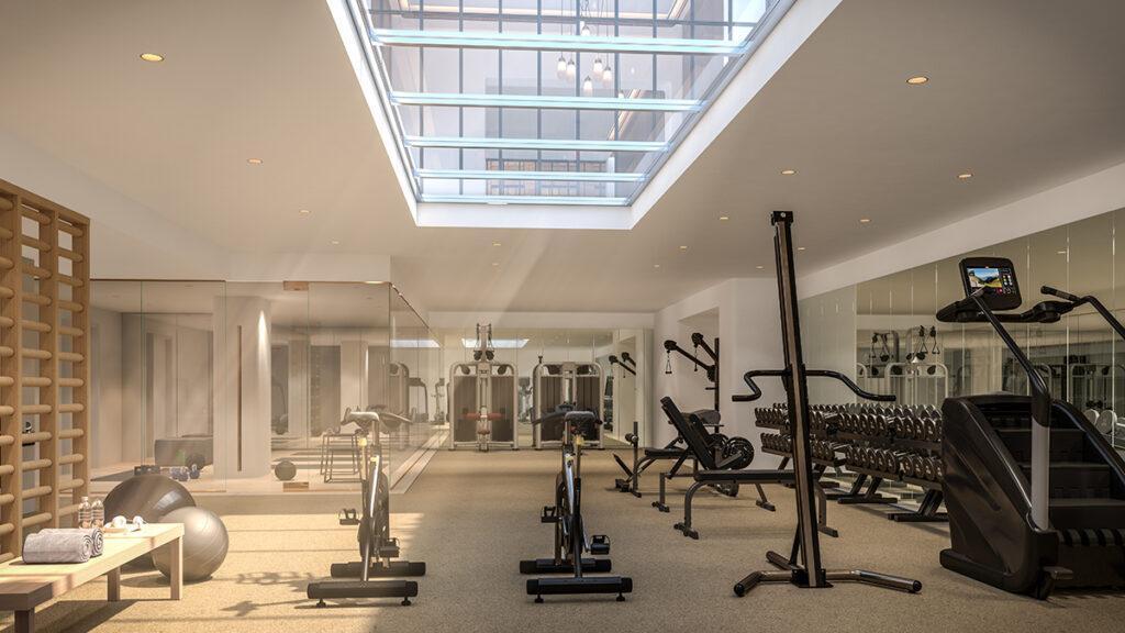 """Vive la France"" im Greenwich West. Helle Freude: Die Sonne scheint ins Fitness-Center. (Bild: Familiar Control)"