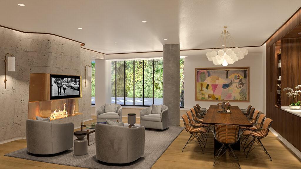 """""""Vive la France"""" im Greenwich West. Exquisite Lounge im Erdgeschoss: Gemütlichkeit mit Kamin und freiem Gartenblick. (Bild: Familiar Control)"""