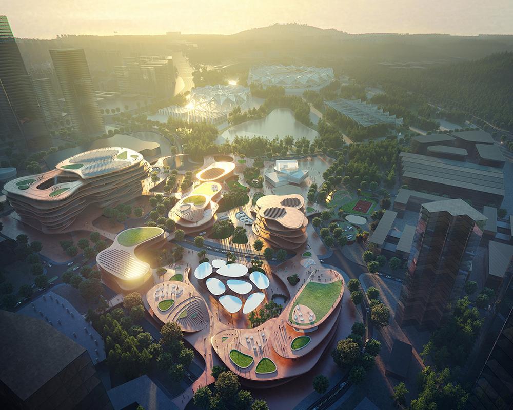 """Shenzhen """"stapelt"""" Terrassen. Rendering der neuen Anlage, aus der Vogelperspektive betrachtet. (Bild: Atchain / MVRDV)"""