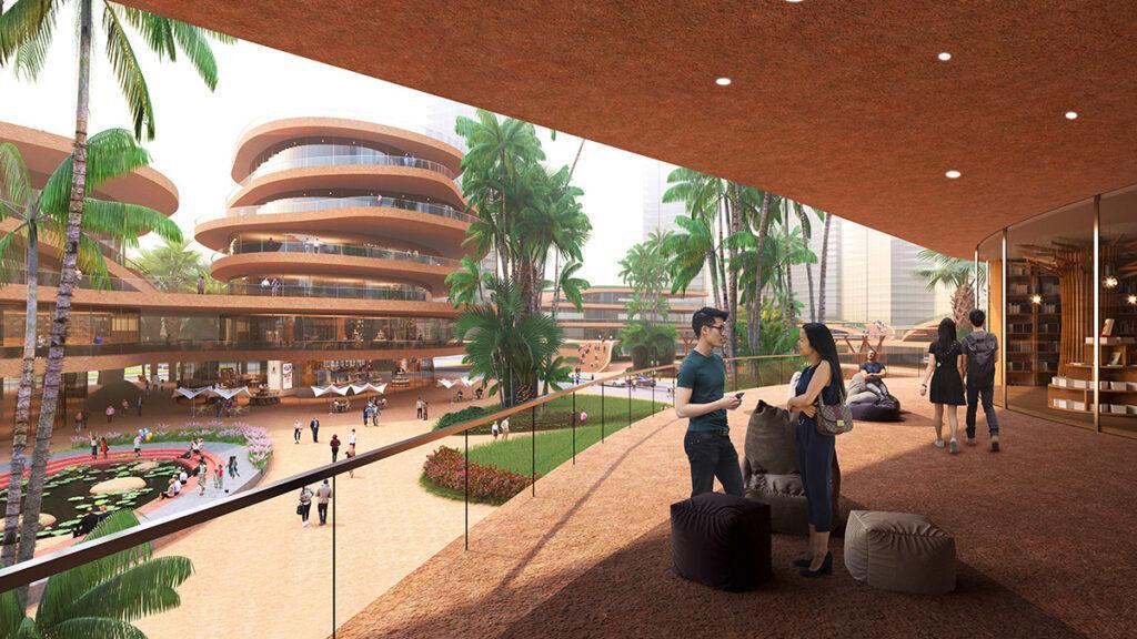 """Shenzhen """"stapelt"""" Terrassen. Die Anlage soll zum neuen, einladenden Treffpunkt werden.(Bild: Atchain / MVRDV)"""