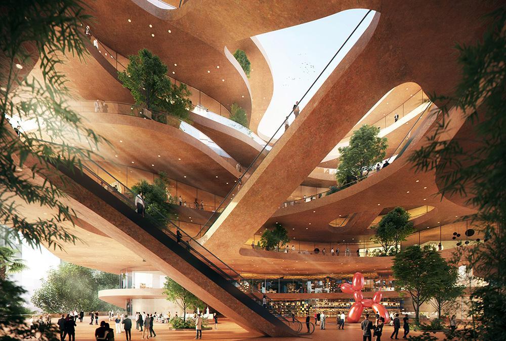 """Shenzhen """"stapelt"""" Terrassen. Das Atrium im größten Gebäude der neuen, fußgängerfreundlichen Anlage.(Bild: Atchain / MVRDV)"""