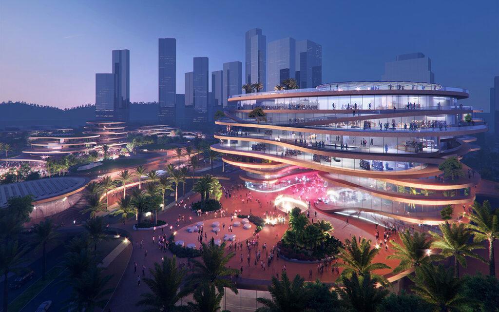 """Shenzhen """"stapelt"""" Terrassen. Elegant gestapelt: Die von MVRDV entworfenen Shenzhen Terrassen. (Bild: Atchain / MVRDV)"""