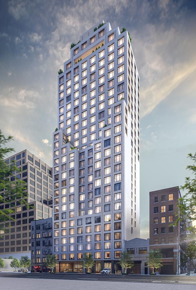 Von der französischen Architektin Françoise Raynaud entworfen: Der neue Wohnturm in Manhattans Charlton Street. (Bild: Familiar Control)
