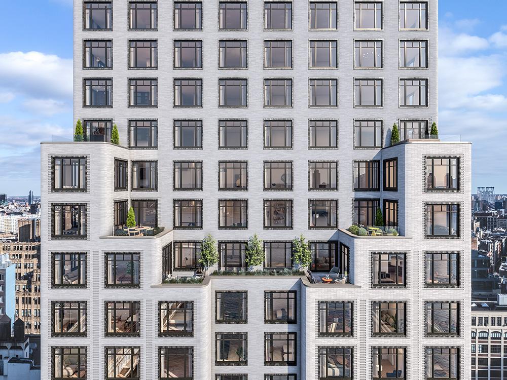 """""""Vive la France"""" im Greenwich West. Der neue Wohnturm in Manhattans Charlton Street. (Bild: Familiar Control)"""