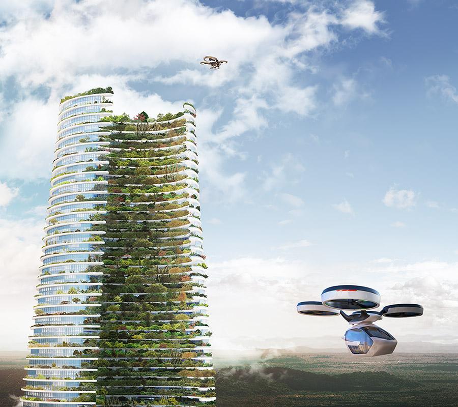 Die smarte Vision des Luca Curci. Drohnenlandeplätze für bequeme An- und Abreise aus der Luft. (Bild: Luca Curci Architects)