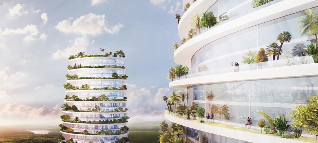 Die smarte Vision des Luca Curci. Beste Lebensqualität in einer vertikalen Smart City: Helle, hohe, rundum begrünte Gebäude mit allem Komfort und Freizeitangebot. (Bild: Luca Curci Architects)
