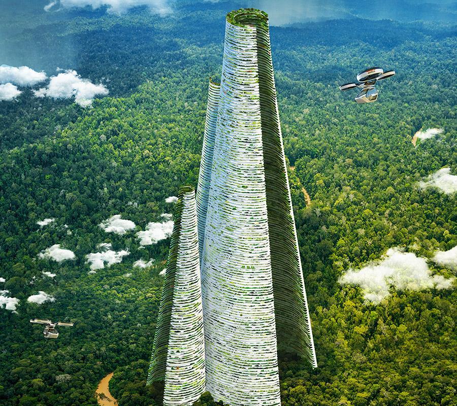 Die smarte Vision des Luca Curci. 1.200 Meter hoch: Der zentrale Wohnturm der Smart City. (Bild: Luca Curci Architects)