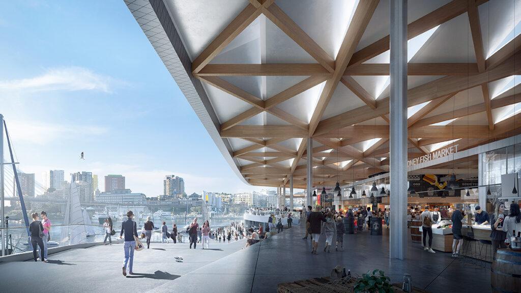 Top-Design für Sydneys Fish Market. Shoppen, relaxen, Fisch genießen: Sydneys neuer Fish Market-Komplex soll Besucher anziehen und begeistern. (Bild: 3XN)
