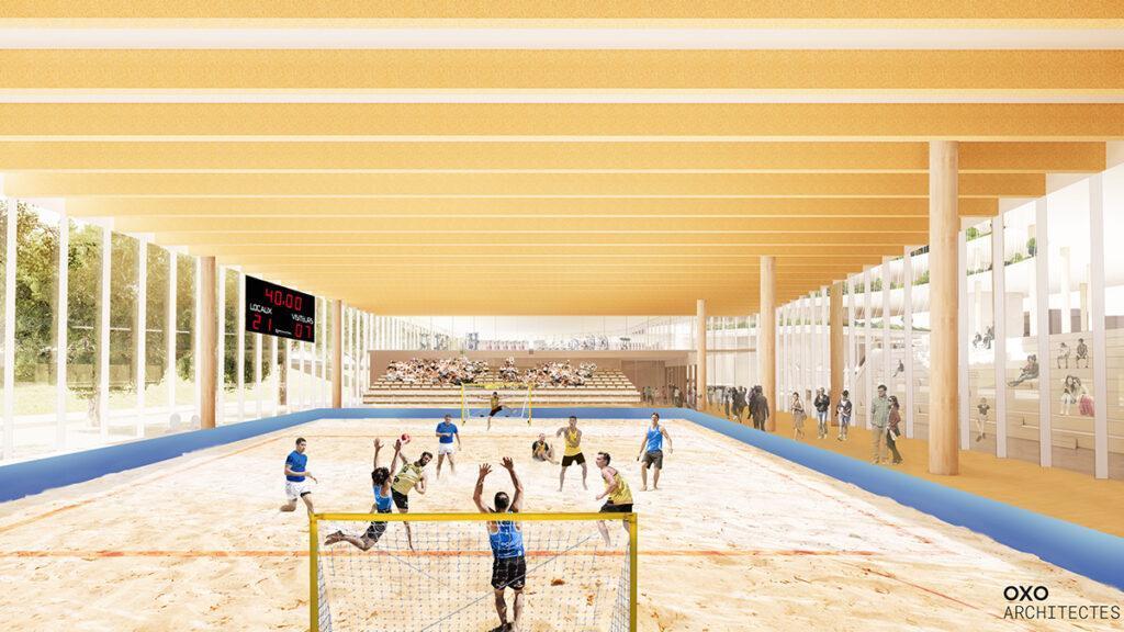 """Créteil baut den """"Baum des Lebens"""". Sport soll im neuen Mixed-Use-Zentrum von Créteil gefördert werden – auf großer Fläche und viel Sand. (Bild: OXO / +IMGS)"""