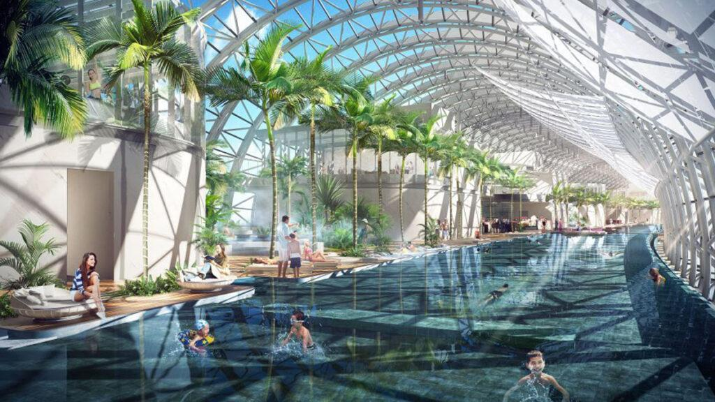 Indoor pools in The Crystal skybridge
