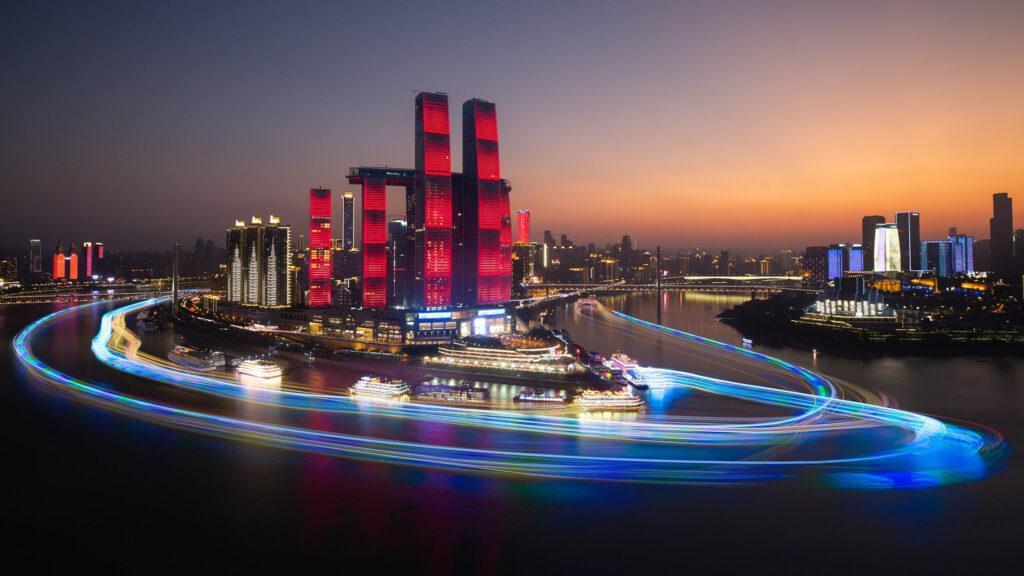 Raffles City Chongqing at night