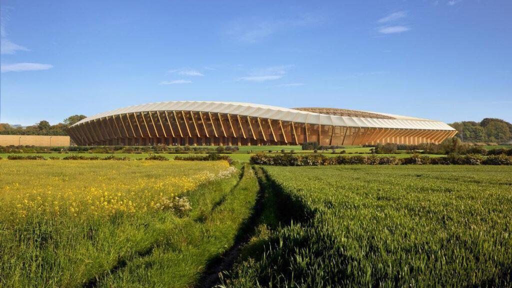 Fußballstadion aus Holz