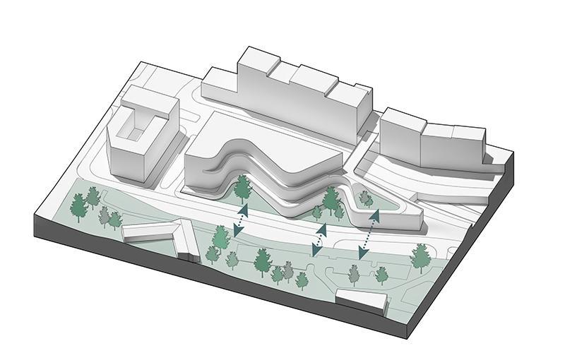 Mehr als ein Bürokomplex. Der Neubau soll Stadtteile bequem miteinander verbinden. (Bild: 3XN)