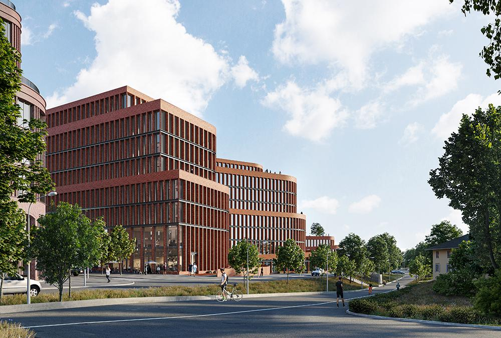 Mehr als ein Bürokomplex. Ziegel und Erdtöne dominieren die geschwungene Fassade. (Bild: 3XN/SBK/ White arkitekter)