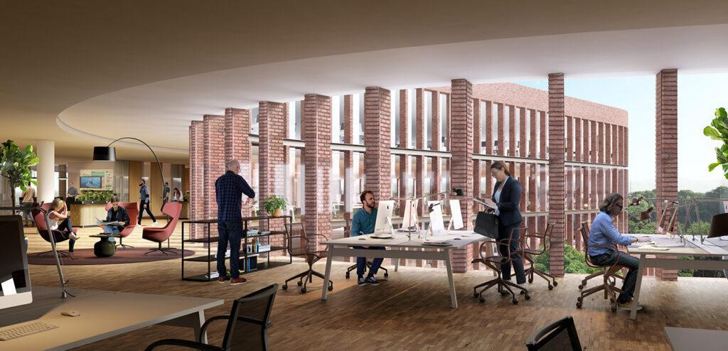 """Mehr als ein Bürokomplex. Flexible Raumgestaltung mit viel Licht und schönem Ausblick: Im """"Kvarter 15"""" entstehen top-moderne Büros. (Bild: 3XN/SBK/ White arkitekter )"""