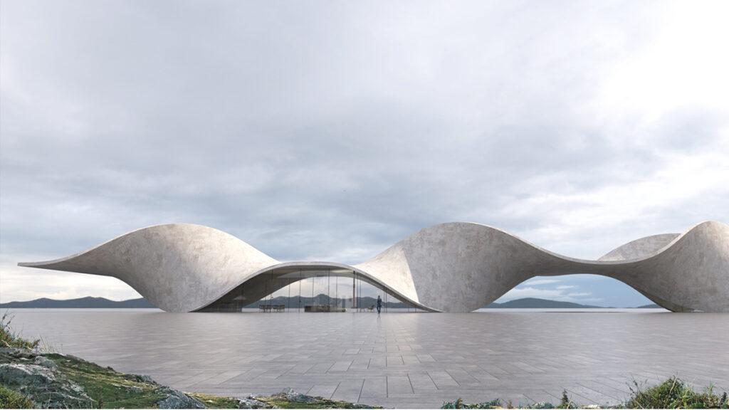 Leben in und unter der Wohn-Welle: Antony Gibbons Vision eines aus Hanfbeton geformten Gebäudes. (Bild: Antony Gibbon)
