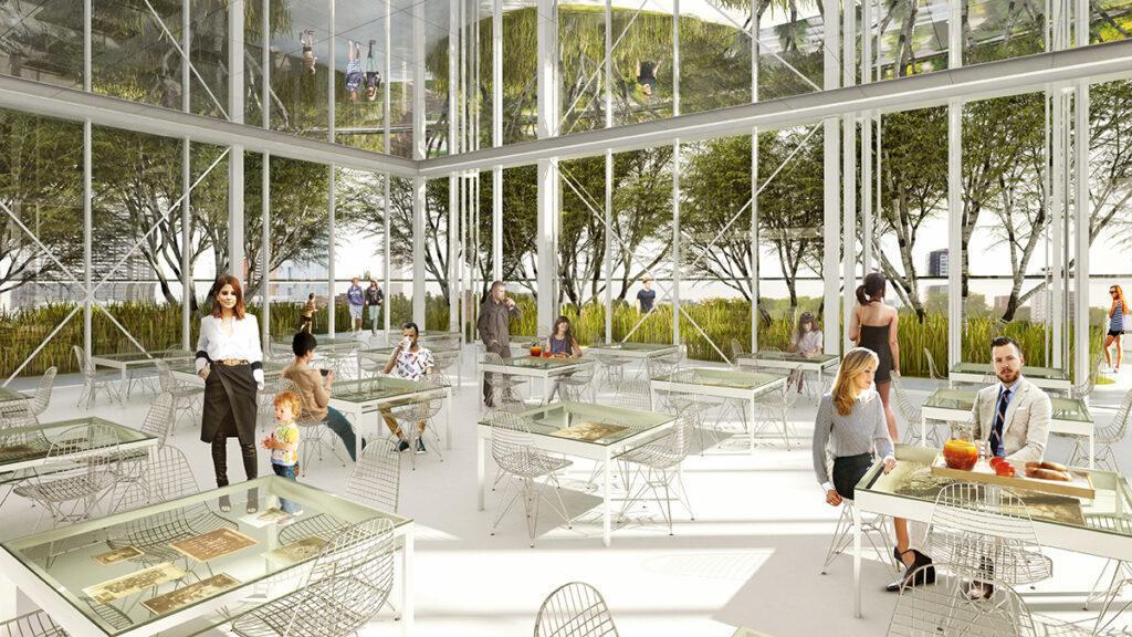 Auf dem Dach des Kunst-Depots locken ein Birken-Wald und ein Restaurant Besucher. (Bild: MVRDV)