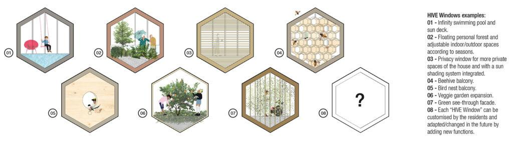 """Future """"HIVE"""" inhabitants will have many options for what they can expect to see while gazing out their windows."""