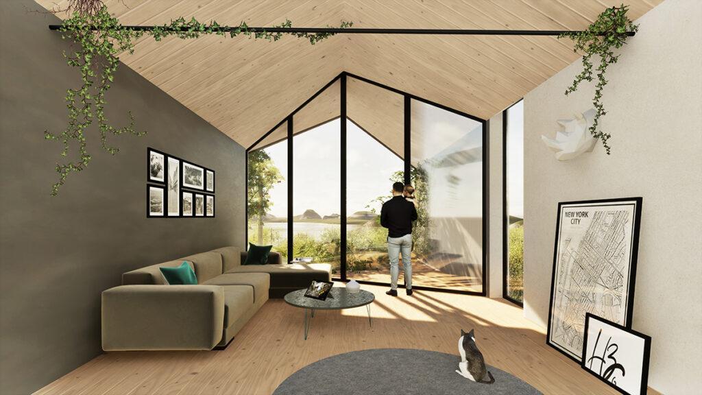 """Ein Bienenstock als Wohnmodell. Komfort ohne Umweltschaden: So könnte ein Wohnzimmer im """"HIVE project"""" aussehen. (Bild: Gianluca Santosuosso)"""
