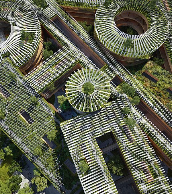 Solarpaneele und viel Grün kennzeichnen das Konzept des weltgrößten Holzbaus von MVRDV. (Bild: MIR)