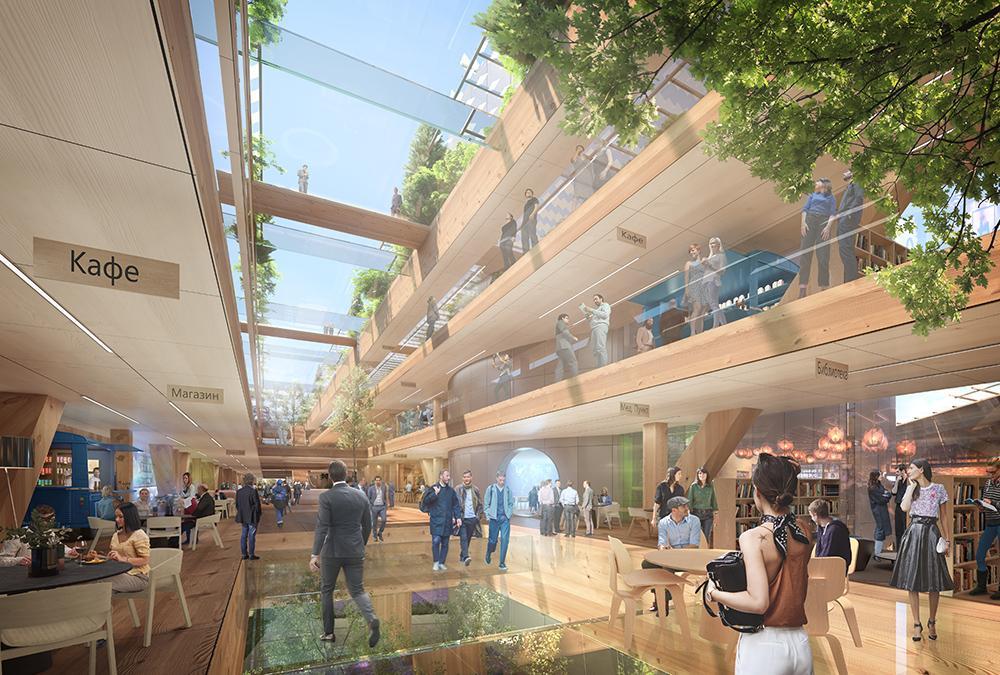 Auch innen grün: MVRDVs Design-Vorschlag für das neue Hauptquartier von Gazprom Neft. (Bild: MVRDV)