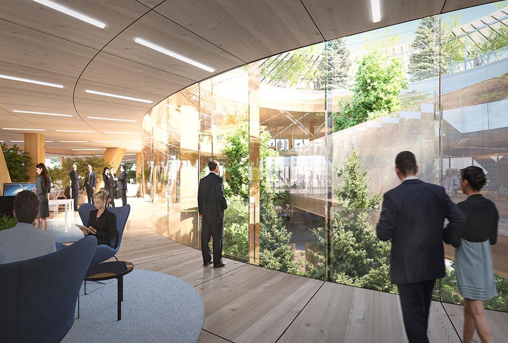 Der Traum vom weltgrößten Holzbau. Moderne, helle Büros in luftiger Höhe sollten für angenehmes Arbeitsumfeld sorgen. (Bild: MVRDV)