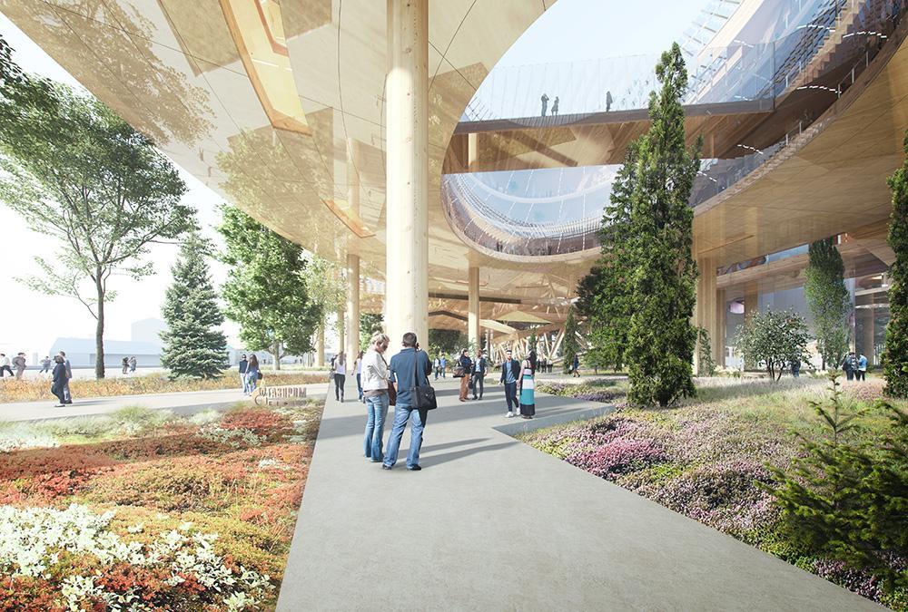 """Der Traum vom weltgrößten Holzbau. Wichtiger Teil des Plans: Ein öffentlicher Park unter dem """"schwebenden"""" Bürokomplex. (Bild: MVRDV)"""