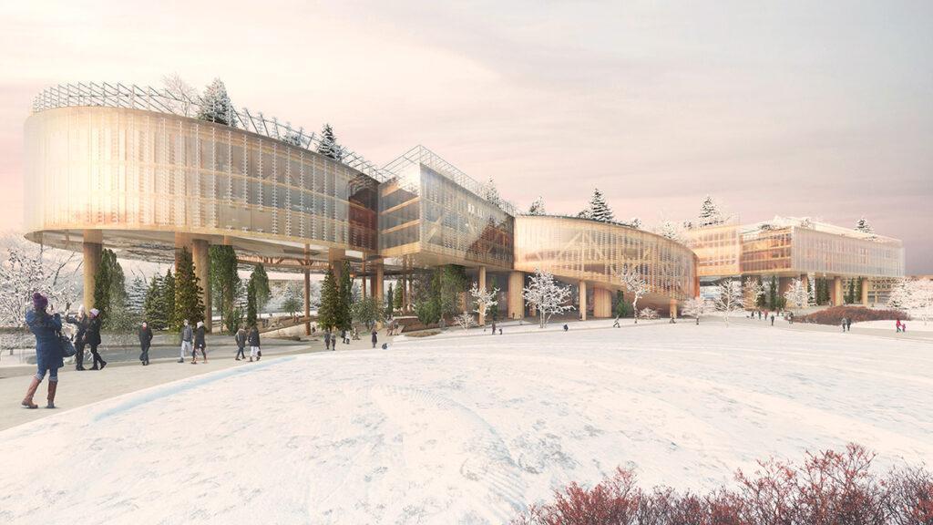 Der Traum vom weltgrößten Holzbau. Unter den Säulen des Komplexes ergibt der Plan einen zu jeder Jahreszeit geschützten Outdoor-Bereich. (Bild: MVRDV)