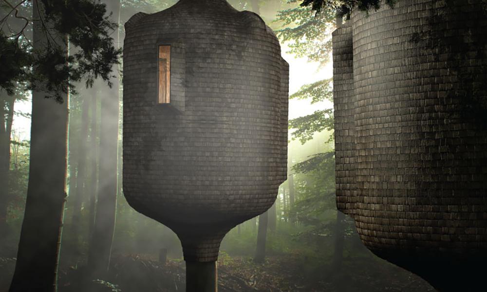 """Hanfbeton schlägt Wohn-Wellen. Das Baumhaus """"Embryo"""" ist ein Entwurf aus dem Büro Gibbon. (Bild: Antony Gibbon)"""