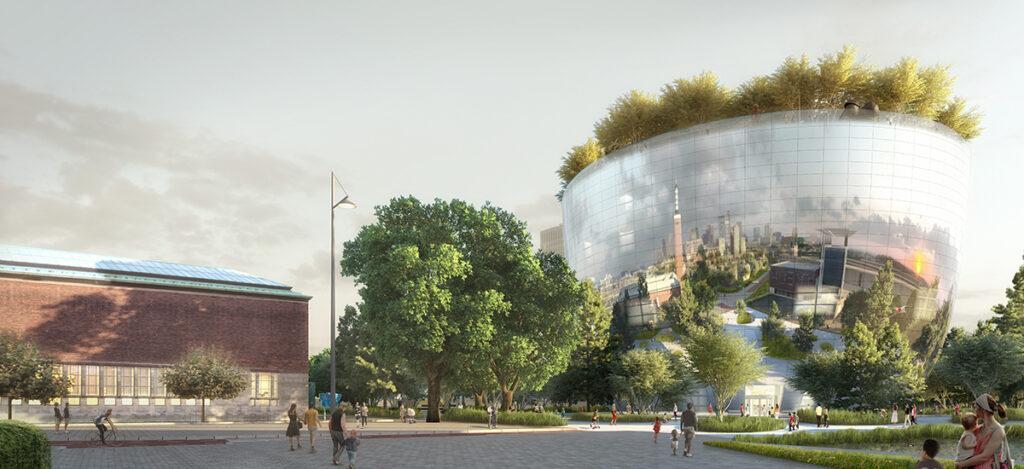 Die Bauarbeiten sind fast abgeschlossen. Im Herbst 2021 soll das Boijmans Kunst-Depot endgültig seine Pforten öffnen. (Bild: MVRDV)