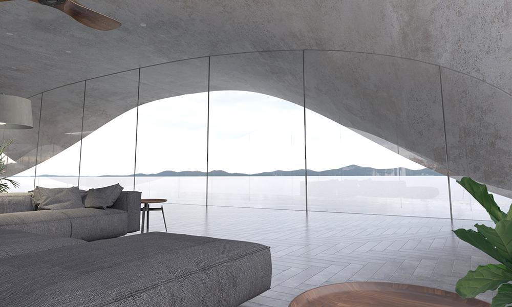 Hanfbeton schlägt Wohn-Wellen. Geräumig, hell und mit famosen Ausblick: Ein Wohnzimmer in der Wohn-Welle. (Bild: Antony Gibbon)