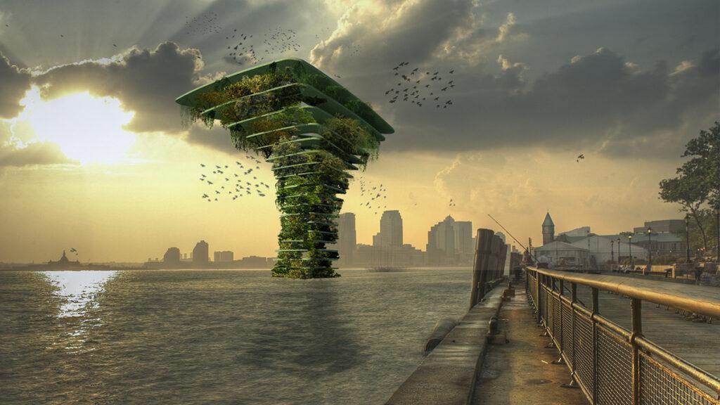 Grüne Stadterweiterung auf Wasser (Bild: Koen Olthuis / Waterstudio)