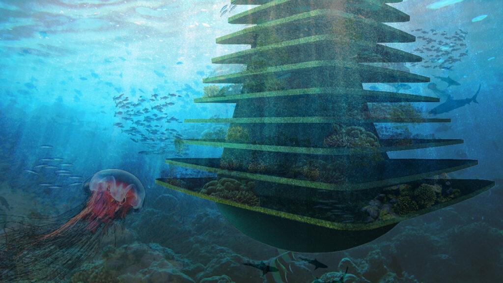 """Grüne Stadterweiterung auf Wasser. Das """"geschichtete"""" Naturschutz-Konstrukt soll auch unter dem Wasserspiegel buntes Leben fördern. (Bild: Architect Koen Olthuis, Waterstudio)"""