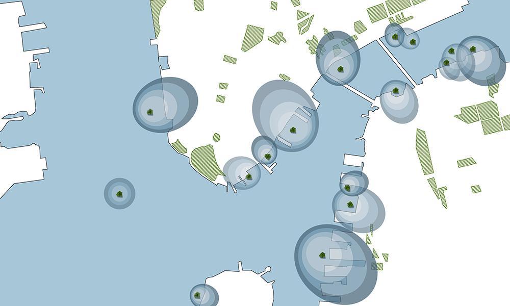 """Grüne Stadterweiterung auf Wasser. New York könnte von der Idee der niederländischen Architekten profitieren – mit einem """"Sea Tree Wald"""" rund um Manhattan. (Bild: Architect Koen Olthuis, Waterstudio)"""