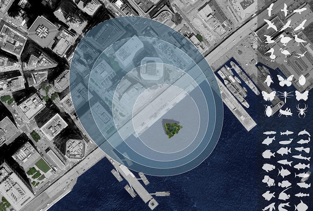 """Grüne Stadterweiterung auf Wasser. Die schwimmenden, für Natur reservierten Wolkenkratzer sollen CO2 """"schlucken"""" und weit über ihren Ankerplatz hinaus für gesündere Umwelt sorgen. (Bild: Architect Koen Olthuis, Waterstudio)"""