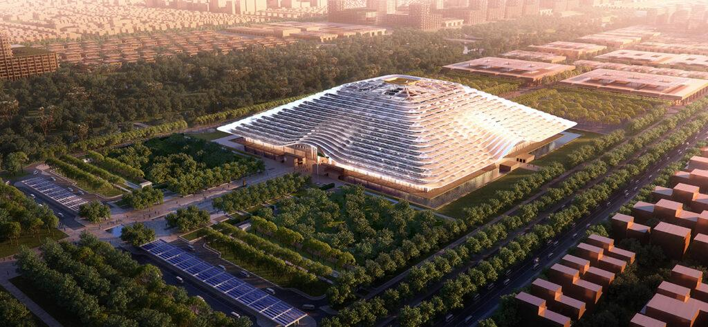 The new government building in Amaravati honours traditional shapes