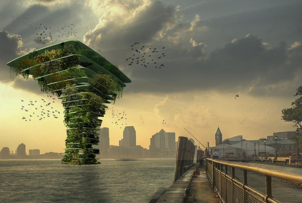 """Spannende Zukunftsvision: Grüne Stadterweiterung mit ufernahen """"Sea Tree""""-Wäldern. (Bild: Architect Koen Olthuis, Waterstudio)"""