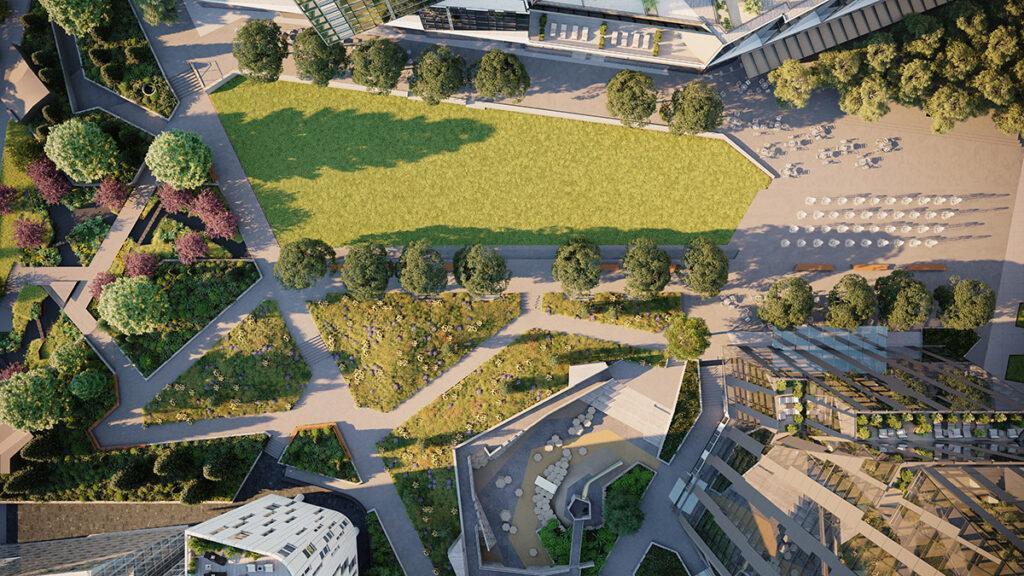 """""""Waterline Square""""-Bewohner profitieren auch vom öffentlichen Park zwischen den drei Türmen. (Bild: Noe & Associates with The Boundary)"""