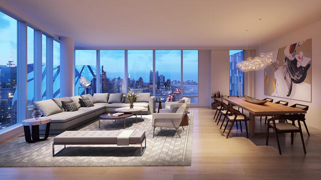 """New Yorker Luxus: Auch die Wohnungen in den drei Türmen des """"Waterline Square"""" wurden von berühmten Designern gestaltet. (Hier: Modell-Apartment im Turm 2). (Bild: Noe & Associates with The Boundary)"""