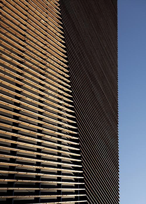 Wooden facade by Snøhetta: a PlusEnergy house. (credit: Ivar Kvaal)