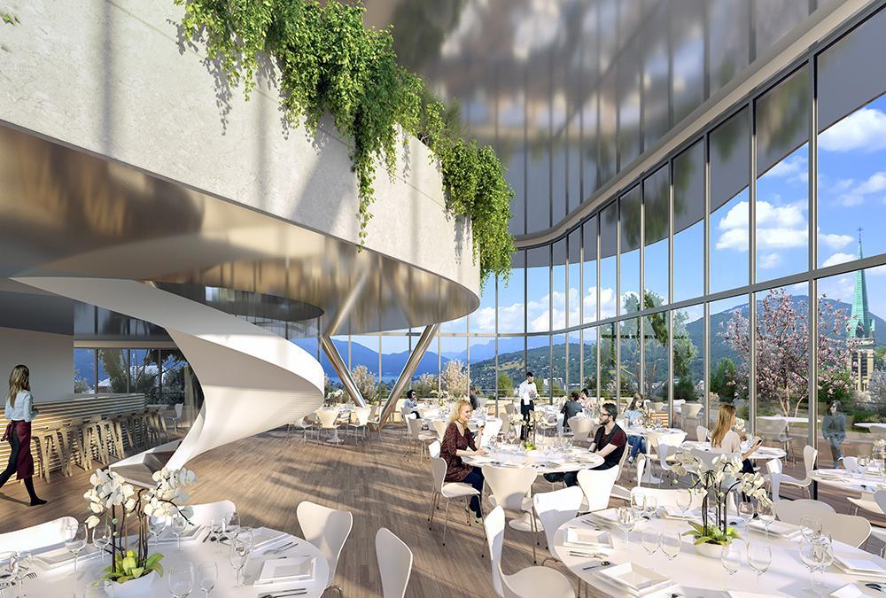 Moderner Wohlfühl-Treffpunkt: Das Thermalzentrum soll zum Modellbeispiel für umweltfreundlichen Tourismus werden. (Bild: Vincent Callebaut)