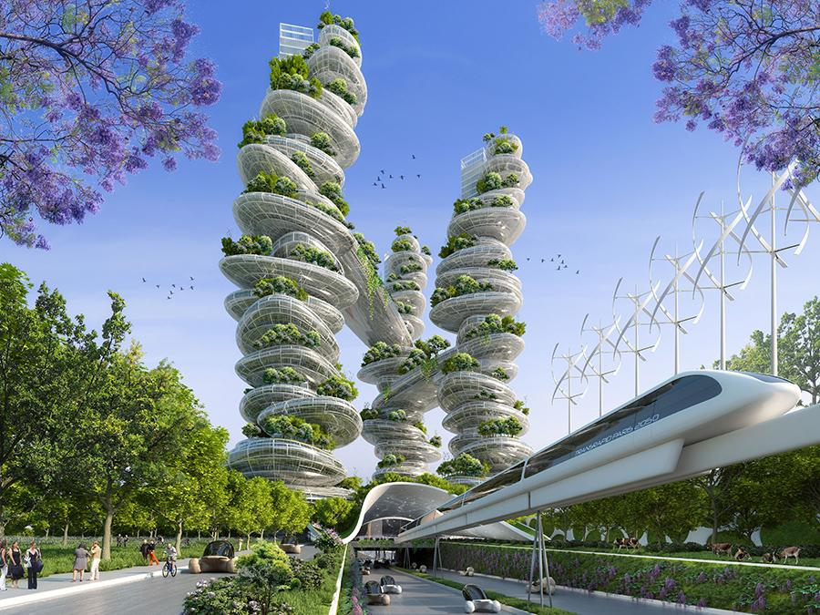 Farmscrapers for Paris 2050 designed by Vincent Callebaut
