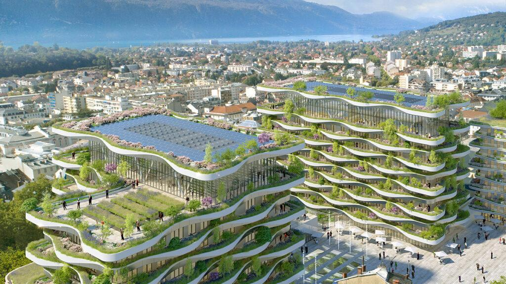 Aerial view of the new complex in Aix-les-Bains designed by Callebaut