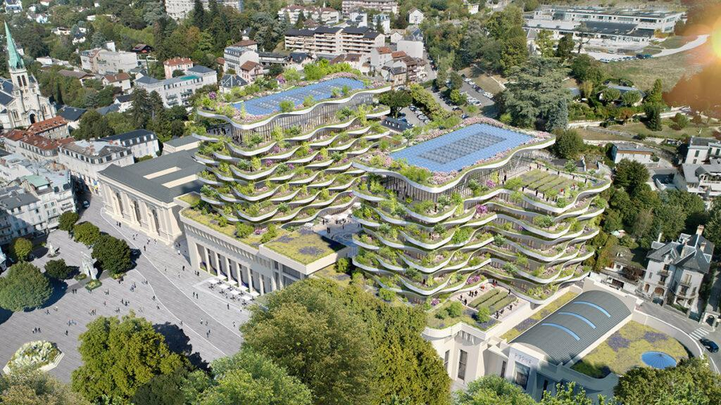 Aerial view of new thermal centre in Aix-les-Bains designed by Vincent Callebaut