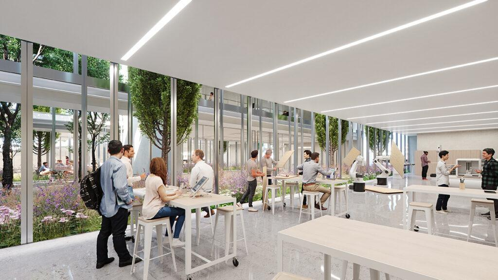 """The """"Maker Space"""": the ideal environment for developing new healthcare ideas. (Image: Trahan Architects)"""