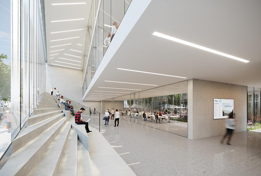The inviting lobby in the atrium of the new Ochsner Center for Innovation. (Image: Trahan Architects)