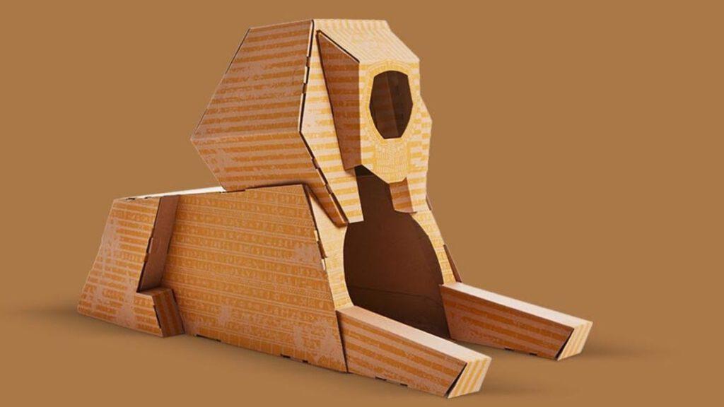 Sphinx Haus fuer Katze aus Pappe