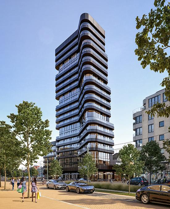 """Die Form des Heldenturms von Knokke-Heist ist """"wellig"""" wie das Meer. (Bild: SALT / G2 architectural graphics)"""