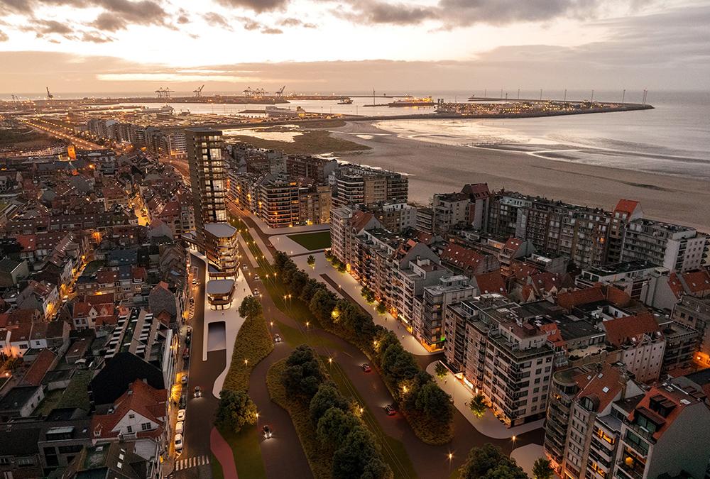 Der Neubau soll zum Wahrzeichen des Badeortes Knokke-Heist werden. (Bild: SALT / G2 architectural graphics)