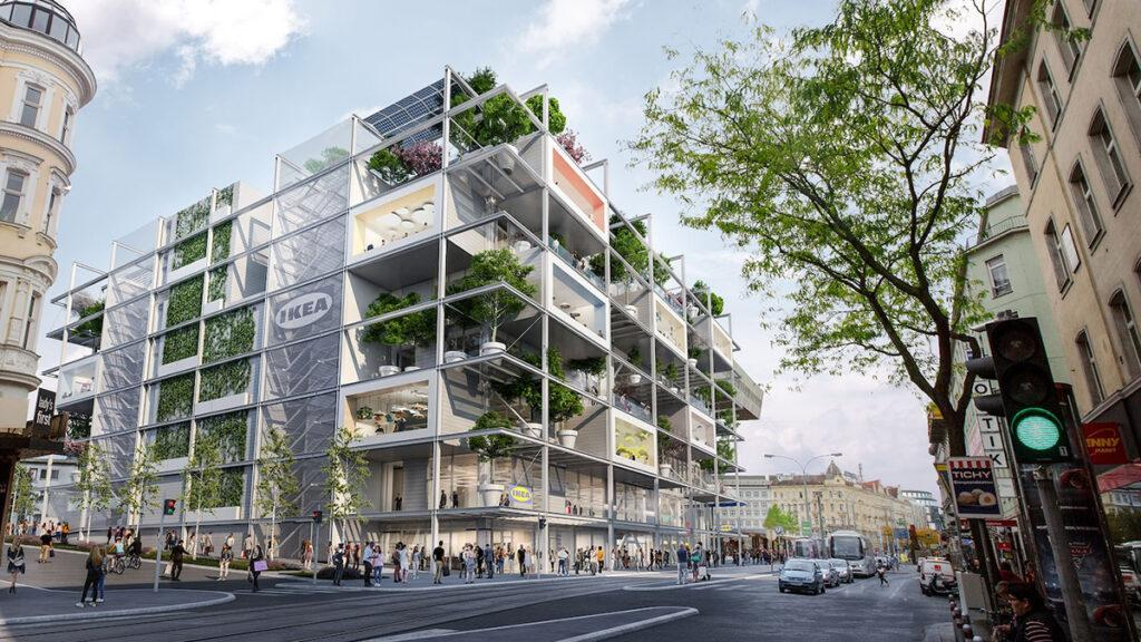 """Designed by the Viennese architecture firm querkraft, GREENPASS-certified and situated right by the Westbahnhof train station: the new """"green"""" IKEA city store. (Image: ZOOM visual projects gmbH)"""